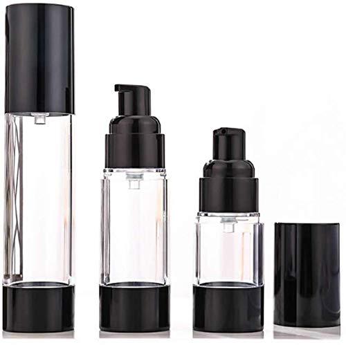 KongEU Reiseflaschen Set mit 3 Airless Pump-Flaschen nachfüllbar Reisebehälter, 15/30/50 ml, leer, wiederverwendbarer Lotion Creme, Kosmetikflasche