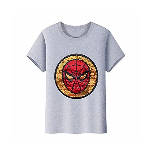 MYYLY Garçon T-Shirt Costume Spiderman Demi-Manches Avenger Réversible Sequin Enfant Tenue Super-héros À Manches Courtes Tshirt Vêtement Fête De Vacances Chemise,Grey-L Kids(120~130CM)
