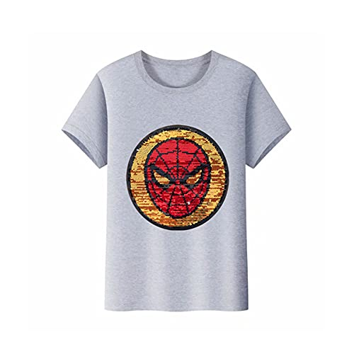 Camiseta para Niño Disfraz Spiderman Media Manga Avenger Lentejuelas Reversibles Vestimenta Infantil Superhéroe Corta Prenda Vestir Fiesta Vacaciones Camisa,Grey-S Kids(100~110CM)