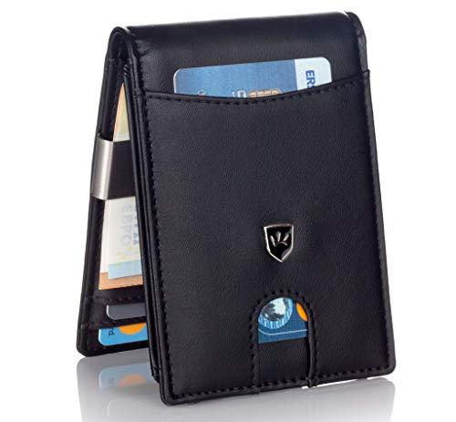 Kronenschein® Premium Herren Geldbörse mit Geldklammer Portemonnaie Männer schlank Geldbeutel RFID Brieftasche Slim-Wallet Portmonee Kreditkartenetui Kartenetui
