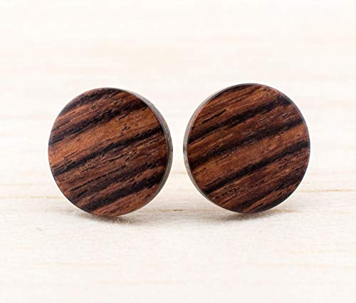 Rustikale Holz Ohrstecker Ø11mm Mini Ohrringe Dünne runde kleine hölzerne Ohrstecker Fake Plugs wood earrings wooden ear studs naturschmuck