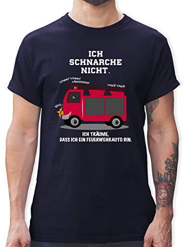 Comic Shirts - Ich schnarche Nicht. Ich träume DASS ich EIN Feuerwehrauto Bin - XXL - Navy Blau - Tshirt Herren Feuerwehr lustig - L190 - Tshirt Herren und Männer T-Shirts