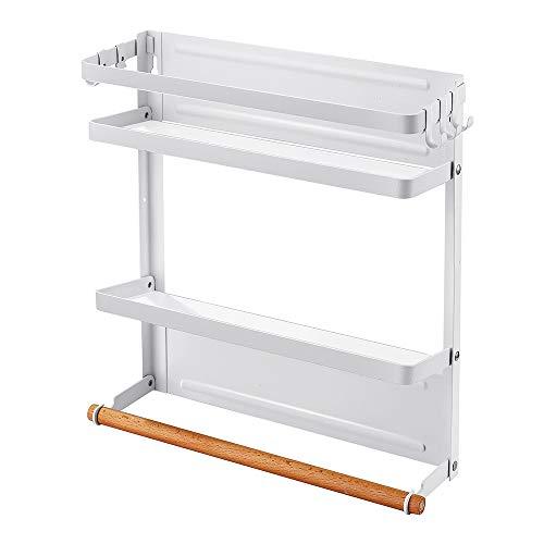 Magnetischer Kühlschrank-Organizer, Küchenregal, Gewürzregal, Papier-Handtuchhalter, Mehrzweck-Ablage, Weiß