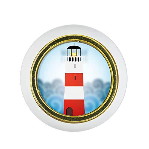 Möbelknopf Kunststoff Klein & Elegant KST03465W Weiss Leuchtturm Motiv - Kleine Universal Möbelknöpfe für Schrank, Schublade, Kommode, Tür, Küche, Bad, Haushalt Kinder Kinderzimmer