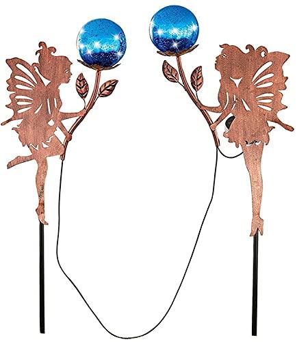 Luz de arte de hierro con incrustaciones de hadas de flores solares, luz de arte de hierro con incrustaciones de hadas de flores solares, decoración de jardín al aire libre