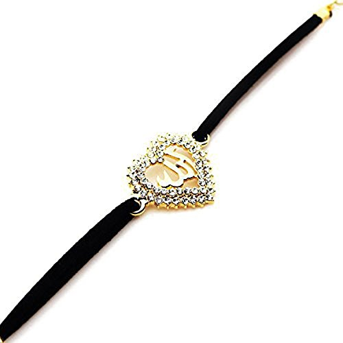 MCSAYS Fashion Gold Plated Muslim Islam Allah Diamond Heart Pendant with Black Rope Chain Bracelet for Women