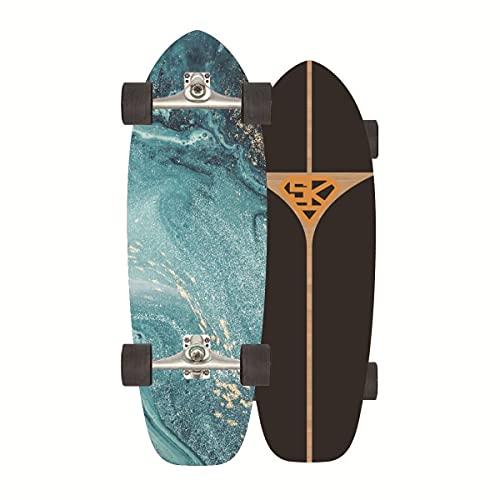 ZBYL Cruiser Skateboards para Principiantes Completa Monopatin Surfskate Carver Pumpping Longboard 8 Capas de Madera de Arce con Rodamientos ABEC-11 y Rodillos de PU para Adultos y niños