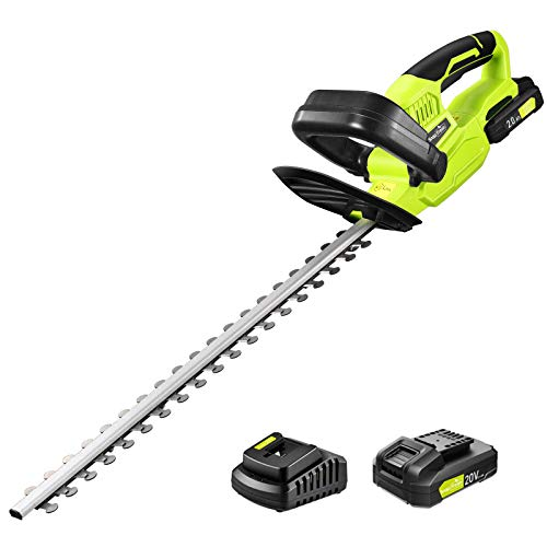 "Cordless Hedge Trimmer, 1400RPM Powerful Electric Hedge Trimmer Cordless with 22"" Dual-Action Blade, 0.55"