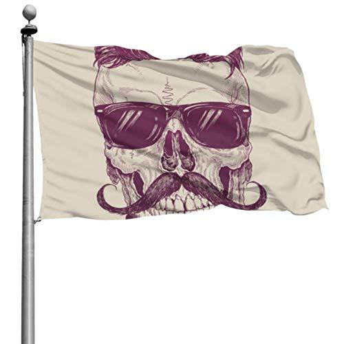 Yushg Dekoration Fahnen Menschlicher Schädel Mit Sonnenbrille Flagge Für Wanddekor Party Fahnen Für Erwachsene 4x6 Ft (120x180cm) Polyester Mit Ösen Dekorationen Innen/Außen
