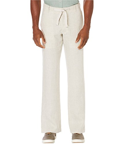 Perry Ellis Men's Standard 100% Drawstring Pant, Natural Linen, 36W x 32L