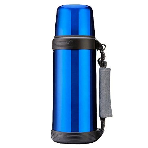 QFFL Pot d'isolation domestique de grande capacité/pot de voyage extérieur d'acier inoxydable/tasse créative (3 couleurs disponibles) thermos (Couleur : Bleu)
