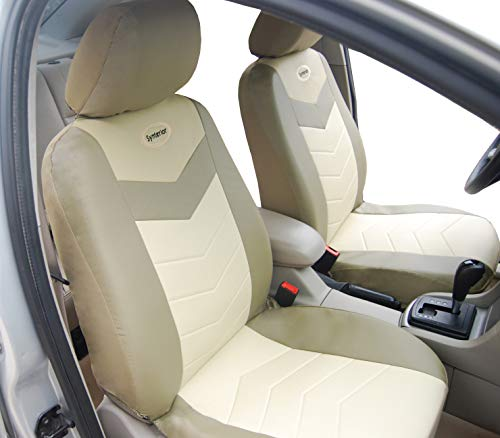 Protech Auto Pair of Two Front Bucket Car Seat Cover Fit for Ford Transit Connect C-Max Flex Expedition F-150, PU Synthetic Leather, Airbag Compatible, Non-Slip Seat Protector 115303 Beige