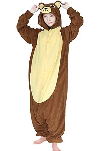 dressfan Unisex Adulto Pijamas Animales Oso Marrón Traje de Cosplay Traje Animal Traje de Oso Marrón Pijamas Adulto Niño (XL, Marrón)