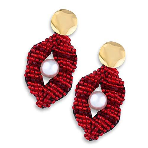 nobrand Kreative Perlenohrringe, rote Lippen glückliche Mode Damenohrringe Party Jewelr (Color : Erp77 red Lips)