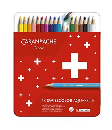 Caran d-Ache Swisscolor Aquarel 18's - Lápiz de color (Multicolor, Rojo)