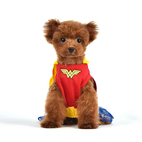DC Comics for Pets Wonder Woman Dog Costume, Size X-Small (XS) | Superhero Halloween Costume for Dogs | Soft and Cute Dog Clothes and Outfits, Dog Costume for Small Dogs