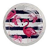 Tiradores Para Muebles Niños Flamenco Rosa Pomo Para Muebles Cristal Pomos Y Tiradores Impresión Manija Del Cajón Para Habitación Infantil 4 Piezas 3.5×2.8CM