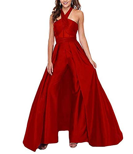 VeraQueen Women's Halter Sleeveless Prom Dresses Jumpsuit Satin Backless Sweep Train Pants Suits Evening Gowns Red