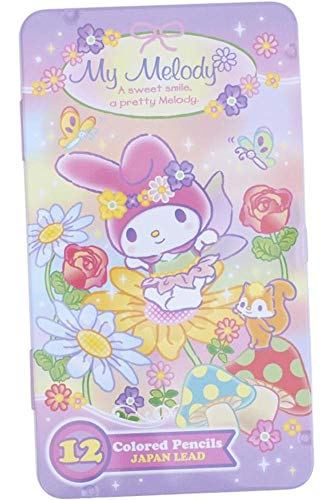 My Melody 12 Colors Japan Lead Colored Pencils In Metal Box 12 Count