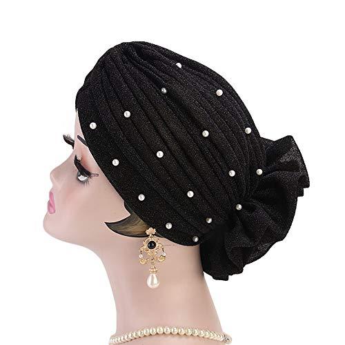 Pérdida del cabello del turbante Tapa del cabezal de cuentas sombrero musulmán adecuado for cualquier ocasión de la Mujer brillante seda venda de la flor del sombrero Sombrero turbante beanie