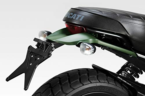 Ducati Scrambler 800 (Urban Enduro, Icon, Italian Independent) - Kit License Plate Holder (D-0220) - Adjustable Tail Tidy - De Pretto Moto Accessories (DPM Race) - 100% Made in Italy
