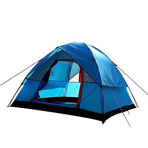 Rahmen Zelte Outdoor-Camping-Zelt 4 Personen Double Deck im Freien Family Camping Spielraum-Zelt Ideal für Camping Wandern Außen (Color : Blue, Size : 3-4 Persons)