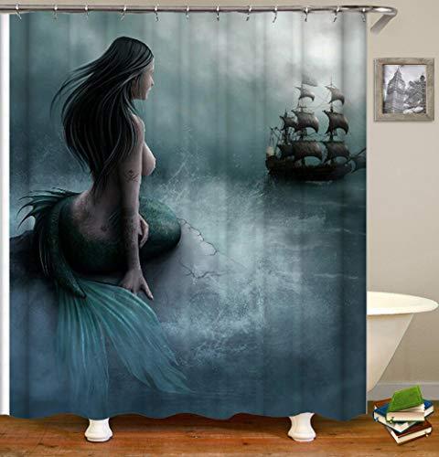 BWBJJ Duschvorhang Meerjungfrau Schiff 150x180 cm Wasserdicht Anti-Schimmel Effekt 3D Digitaldruck mit 12 Duschvorhangringe für Badezimmer