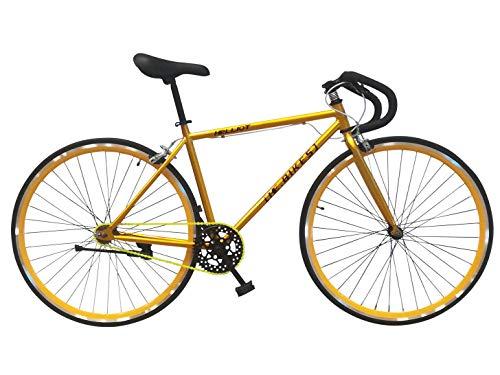 """Wizard Industry Helliot Soho 5305 - Bicicleta Fixie, Cuadro de Acero, Frenos V-Brake, Horquilla Acero y Ruedas de 26"""", Color Amarillo"""