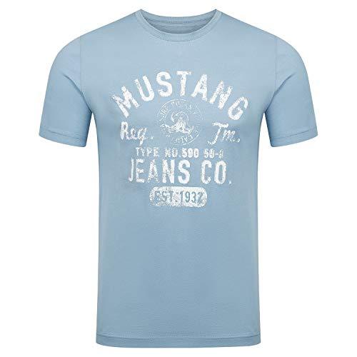 MUSTANG T-shirt à col rond à manches courtes pour homme avec logo imprimé en coton noir blanc bleu gris, tailles S M L XL 2XL 3XL, Faded Denim (5124), L