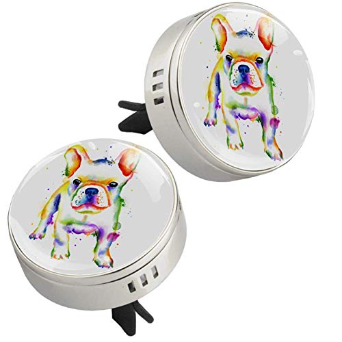 Z&Q Essential Oil Diffuser Watercolor Animal Dog Car Aromatherapy Zinc alloy Locket Air Freshener with Vent Clip 4 PE supplementary pad Jewelry for Women Girls Gifts 1.33inX1.83in