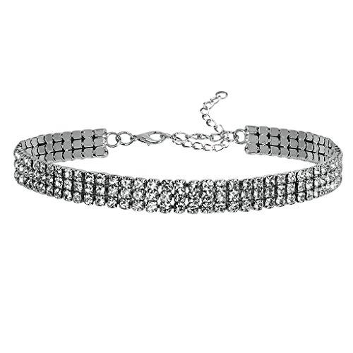 Adisaer Voller Diamante Cristallo Choker Donna Argento Grappolo Posto Zirconia Collana Tatto Lunghezza 31.5CM Larghezza 1.1CM