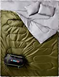 Sleepingo Double Sleeping Bag for Backpacking, Camping, Or Hiking, Queen Size XL! Cold Weather 2 Person...