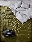 Bolsa de dormir doble para campamentos, mochileros, senderismo tamaño queen XL bolsa de dormir de clima frío, impermeable para dos adultos o adolescentes camión, tienda o colchoneta, liviana