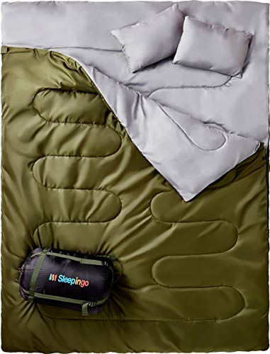 Lifetme Warranty Zippered Double Sleeping Bag for Backpacking with Comfy Cozy Liner
