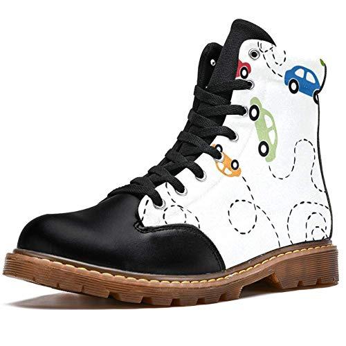 TIZORAX Bunte Cars in Line Prints High Top Schnürschuhe Klassische Canvas Winterstiefel Schule Schuhe für Herren Jugendliche Jungen, Mehrfarbig - mehrfarbig - Größe: 41 1/3 EU