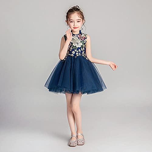 SUNXC Rapunzel Vestidos de Princesa, Disfraz de niña de Hilo hinchado-Azul_100cm,Cosplay Carnaval Vestido de Princesa