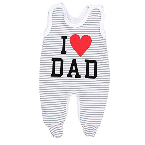 TupTam Unisex Baby Strampler mit Spruch I Love Mum and Dad, Farbe: I Love Dad Streifen Grau, Größe: 68