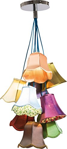 Kare Design Hängeleuchte Saloon Flowers, moderne Pendelleuchte im Retro-Stil, Design Wohnzimmerlampe mit bunten Lampenschirmen und Blumenmuster, Landhausstil, Bunt (H/B/T) 116x60x60cm