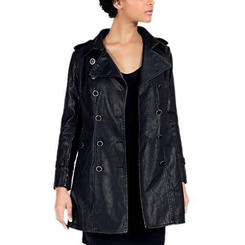DISSA PAW16 - Abrigo de piel sintética para mujer Negro 46