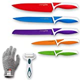 Chef Grids Colorful Knife Set with Knife covers, with Multipurpose Peeler and Single protective...