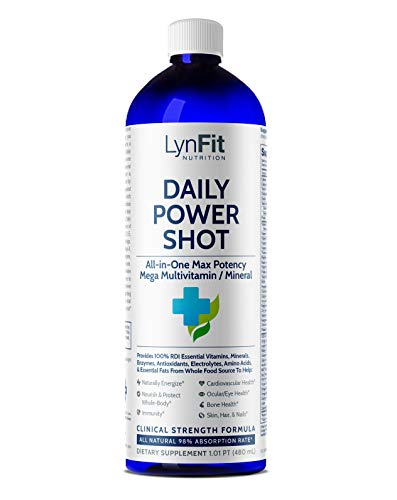 LynFit Nutrition Daily Power Shot Multivitamin | All-Natural Multivitamin for Men and Women and Colloidal Mineral Supplement | Best Multivitamin in a Delicious Liquid Formula, 480mL (1 Pint)