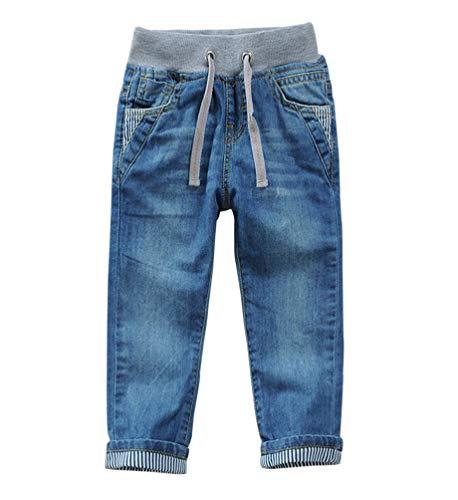YOOY Jungen Jeanshosen Slim Kinder Jeans mit Gummibund Frühjahr Herbst, Blau, 110-116 / Größe 120
