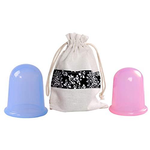 Beaupretty 2pcs Silicone Vacuum Cup Tasse de Thérapie de Massage Aspiration pour Absorbeur d'Hydratation Visage & Corps Anti-Cellulite (Bleu et Rose)