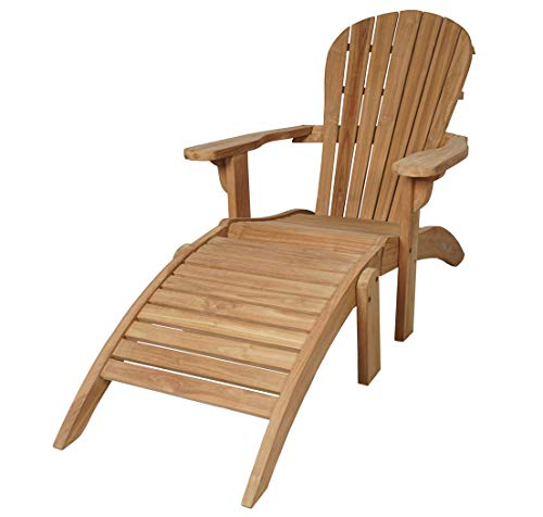 KMH®, Teak Adirondack Chair Classic mit Fußablage (#102029)