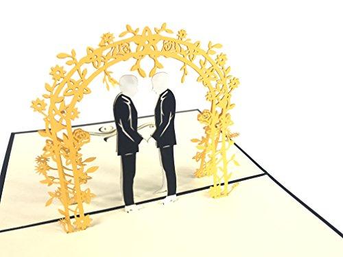 Tarjetas de felicitación 3D para el día de la boda gay para...