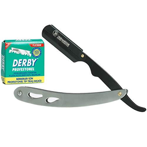 Van De Boos® Rasiermesser-Set mit 100 Derby Wechselklingen - Hochwertiges Edelstahl Barbier Bartmesser mit extra scharfen Klingen - Barber Messer für eine präzise Bart-Nassrasur (Herren Nassrasierer)