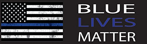 10in x 3in Large Blue Lives Matter Flag Auto Decal Bumper Sticker Support Law Enfocement Police Officers Thin Blue Line (American Flag)