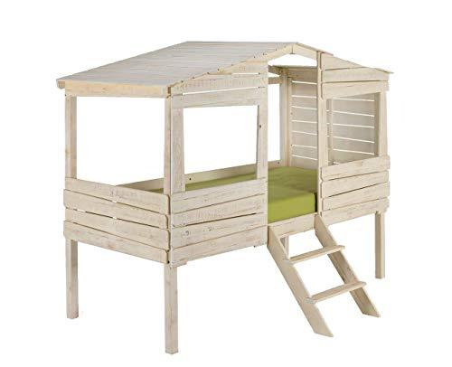 Meubletmoi 4329 - Cama cabaña (90 x 200 cm, madera de pino), color blanco envejecido