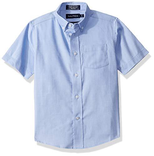Nautica Jungen Short Sleeve Oxford Shirt Button Down Hemd, blau, Small