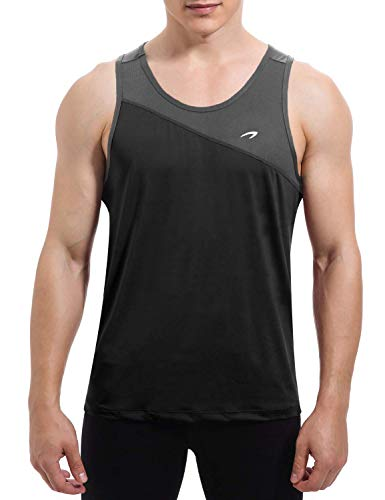 KPSUN Men's Workout Tank Tops Quick Dry Athletic Gym Sleeveless Shirts for Bodybuilding,Training,Running,Jogging,Fitness(Black,XXL)